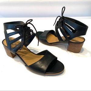 Franco Sarto Flourish Leather Ankle Tie Sandals